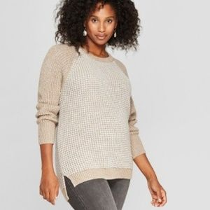 Maternity Colorblock Tuck Stitch Pullover, Oatmeal